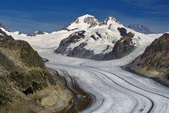 Aletsch glacier - Upper. Aletsch glacier, Wallis, Switzerland, UNESCO world natural heritage stock photos