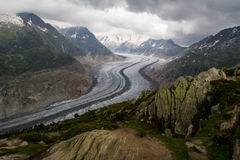 Aletsch Glacier Viewpoint Royalty Free Stock Images
