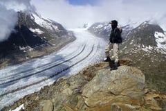 Aletsch-Gletscher, das größte gracier in den Alpen stockbilder