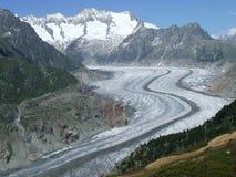Aletsch-Gletscher in der Schweiz Stockfotos