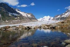 Aletsch Gletscher mit See Stockfotografie