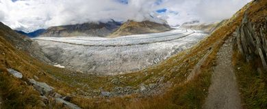 Aletsch-Gletscher-Panorama Stockbilder