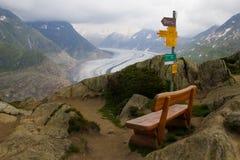 Aletsch-Gletscher-Standpunkt Stockbilder