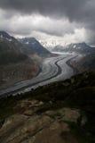 Aletsch-Gletscher-Standpunkt Stockfotografie
