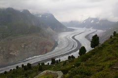 Aletsch-Gletscher-Standpunkt Lizenzfreie Stockfotos