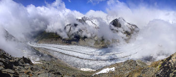 Aletsch lodowiec wielki gracier w Alps Fotografia Stock