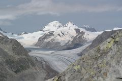 Aletsch, the river of ice. Route from the top of the Alps with the views of the impressive Aletsch glacier, in canton Valais, with my mother-in-law and my royalty free stock images