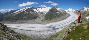 Aletsch, svizzero - luglio 2012: Il ghiacciaio di Aletsch. Immagine Stock Libera da Diritti