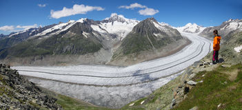 Aletsch, Swiss - July 2012: The Aletsch Glacier. Royalty Free Stock Image