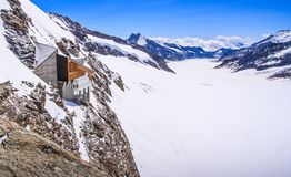 Aletschgletscher or Aletsch glacier - ice landscape in Swiss Alpine Regions, Jungfraujoch Station, the top of europe train station Royalty Free Stock Image