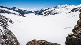 Aletschgletscher or Aletsch glacier - ice landscape in Swiss Alpine Regions, Jungfraujoch Station, the top of europe train station Royalty Free Stock Images