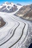 Aletschgletsjer in de Alpen van Zwitserland royalty-vrije stock afbeelding