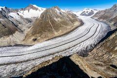 Aletschgletsjer in de Alpen van Zwitserland royalty-vrije stock foto's