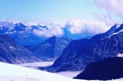 Aletschgletsjer dichtbij Jungfraujoch Stock Afbeelding