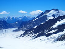 Aletschgletsjer in Zwitserse ALPEN, Zwitserland Stock Fotografie