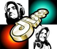 Aletta di filatoio astratta di Discoteque con il DJ Immagini Stock