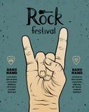 Aletta di filatoio d'annata di festival rock, manifesto con il segno della mano di rock-and-roll Fotografie Stock