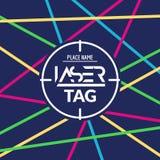 Aletta di filatoio del manifesto del gioco dell'obiettivo dell'etichetta del laser Insegna del lasertag di vettore per il partito Fotografia Stock