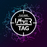 Aletta di filatoio del manifesto del gioco dell'obiettivo dell'etichetta del laser Insegna del lasertag di vettore per il partito Fotografia Stock Libera da Diritti