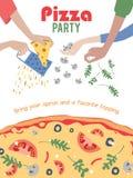 Aletta di filatoio del manifesto dell'invito del partito della pizza di vettore pranzo Immagine Stock