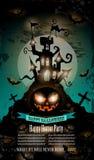 Aletta di filatoio del partito di Halloween con gli elementi variopinti terrificanti Fotografia Stock Libera da Diritti
