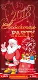Aletta di filatoio dell'invito per una festa di Natale su un fondo rosso Immagine Stock