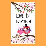 Aletta di filatoio di Owl Happy Valentines Day Fotografie Stock Libere da Diritti