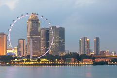 Aletta di filatoio di Singapore al crepuscolo Immagine Stock Libera da Diritti