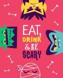 Aletta di filatoio divertente dell'invito per il partito di Halloween Vettore Immagine Stock Libera da Diritti
