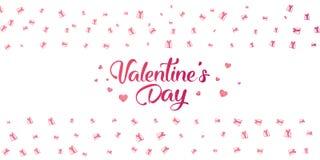 Aletta di filatoio moderna con il testo felice di giorno del ` s del biglietto di S. Valentino Fotografia Stock Libera da Diritti