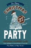 Aletta di filatoio di Natale con la pubblicità del partito nello stile d'annata Il vettore ha fatto a mano illustrazione vettoriale
