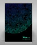Aletta di filatoio nera con la decorazione geometrica blu Fotografia Stock Libera da Diritti