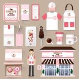 Aletta di filatoio stabilita del caffè del ristorante di vettore, menu, pacchetto Fotografia Stock
