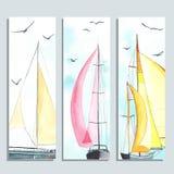Alette di filatoio con le barche a vela dell'acquerello Immagine Stock