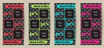 Alette di filatoio di pubblicità verticali stabilite per le vendite di Black Friday Un insieme della vendita verticale di Black F Fotografia Stock