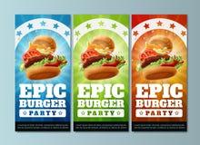 Alette di filatoio epiche del partito dell'hamburger Fotografia Stock Libera da Diritti