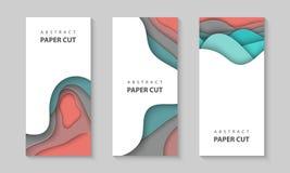 Alette di filatoio verticali di vettore con le forme di onde variopinte del taglio della carta 3D stile di carta astratto, dispos illustrazione vettoriale