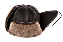 Alettoni dell'orecchio del cappello di inverno fotografia stock