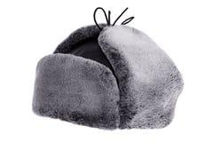 Alettoni dell'orecchio del cappello di inverno con le orecchie alzate fotografia stock