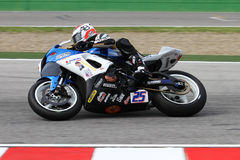 Alex Baldolini #25 on Suzuki GSX-R 600 NS Suriano Corse Supersport WSS. Alex Baldolini #25 riding Suzuki GSX-R 600 with NS Suriano Corse at World Supersport royalty free stock photo
