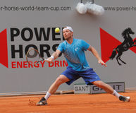 Alex Bogomolov of Russia, Tennis  2012. 2012 World Team Cup. This photo shows Russian player Alex Bogmolov during his singles match with Janko Tipsarevic of the Stock Images