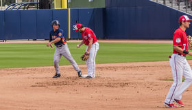 Alex Bregman Houston Astros 2017. March 26, 2017 - West Palm Beach, Florida : Alex Bregman of Houston Astros runs to second during Spring Training game with royalty free stock image