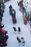 Alex Buetow heads down the trail. FAIRBANKS, ALASKA - FEBRUARY 3, 2018: Rookie Alex Buetow from Fairbanks, AK, heads down the trail at the start of the Yukkon Stock Photo