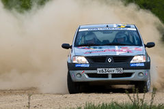 Alex Federov on Renault Logan at Russian rally Royalty Free Stock Photo