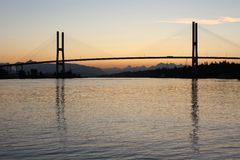 Alex Fraser Bridge Dawn Stock Image