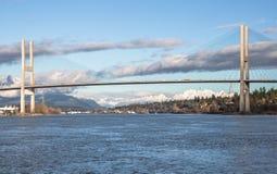 Alex Fraser Bridge i Sunny Winter Day Arkivbild