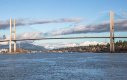 Alex Fraser Bridge in Sunny Winter Day Stockfotografie