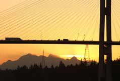 Alex Fraser Bridge Vancouver Dawn Royalty Free Stock Photos
