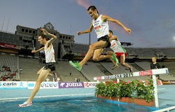 Alex Genest of Canada(L) and Jimenez Pentinel(R) of Spain. In action on 3000m steeplechase Event of Barcelona Athletics meeting at the Olympic Stadium on July Royalty Free Stock Photo