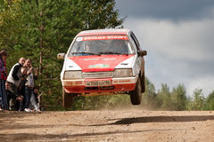 Alex Ivanov drives a  red Lada Zhiguly Stock Photo